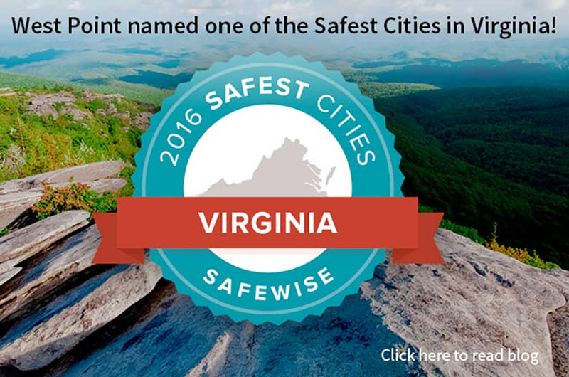 West Point Virginia is one of the safest cities in Virginia